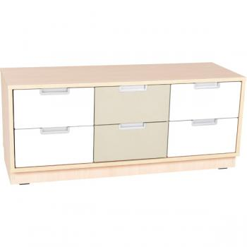 mytibo quadro schrank s f r 6 schmale schubladen b 116 weiss auf sockel. Black Bedroom Furniture Sets. Home Design Ideas