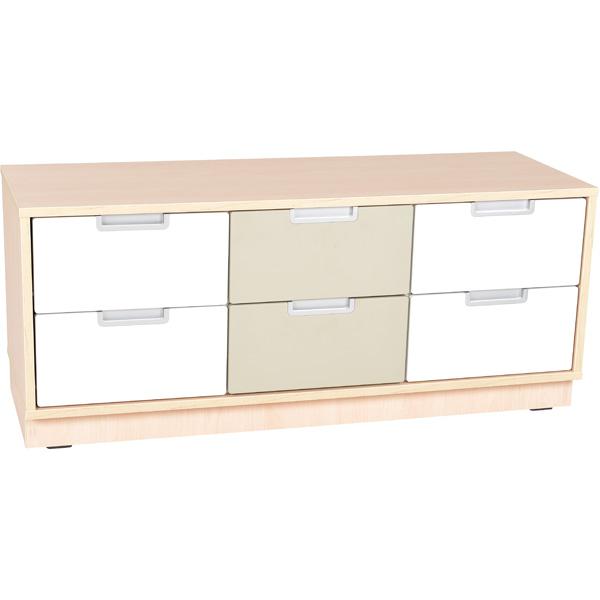 mytibo quadro schrank s f r 6 schmale schubladen b 116 weiss auf sockel. Black Bedroom Furniture Sets. Home Design Ideas