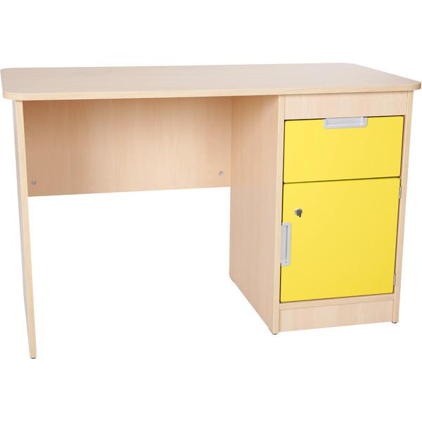mytibo schreibtisch quadro mit schublade und t r gelb. Black Bedroom Furniture Sets. Home Design Ideas