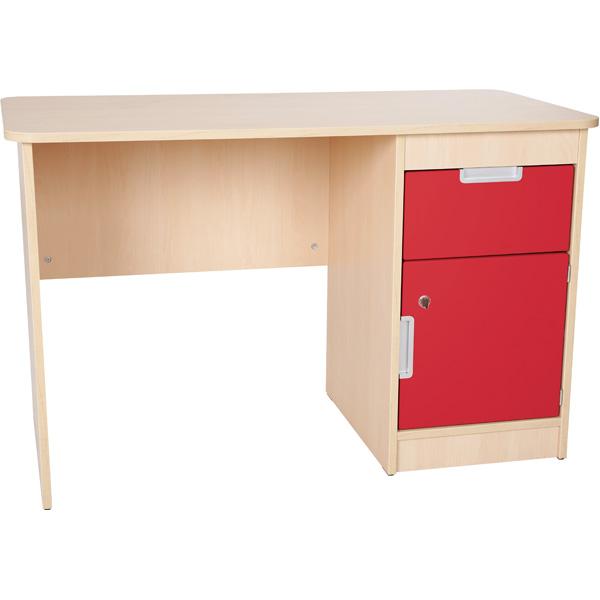 mytibo schreibtisch quadro mit schublade und t r rot. Black Bedroom Furniture Sets. Home Design Ideas