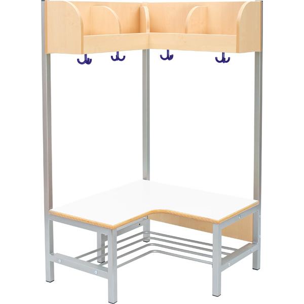 Eckgarderobe Flexi 4 Mit Gestell Sitzhöhe 26 Cm Weiss