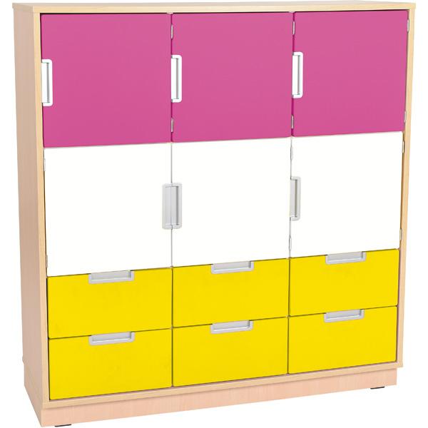 mytibo schrank l mit 6 t ren und 6 schubladen b 116 magenta weiss gelb quadro 53 180. Black Bedroom Furniture Sets. Home Design Ideas